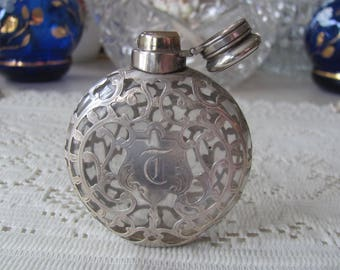 Vintage Perfume Bottle, Sterling Overlay, Glass Vanity Bottle. Antique perfume holder