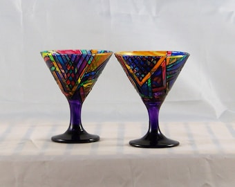 Brite, hand-painted mini martini glasses
