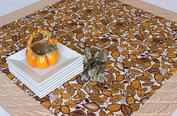 Gold Fall Autumn Leaves Quilted Table Topper