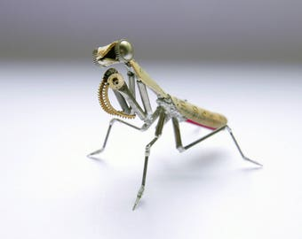 """Watch Parts Praying Mantis """"Mantis No 41"""" Sculpture Recycled Mechanical Clockwork Mantis Mantid Watch Stems Faces Insect A Mechanical Mind"""