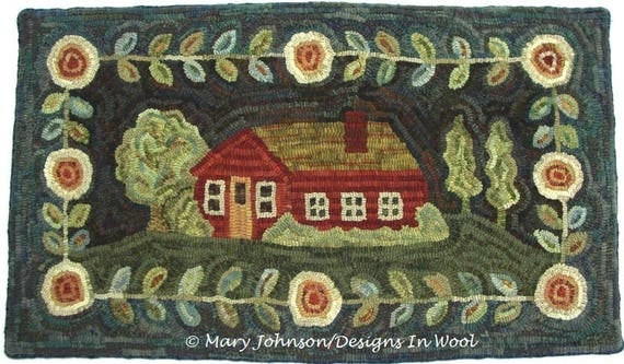 "Rug Hooking Pattern, Home Sweet Home 20"" x 36"", J744, Primitive Rug Design, House and Flowers, Folk Art Pattern, DIY Rug Hooking"