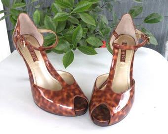 Nine West Leopard Style High Heel Ladies Shoe Size 5 1.2 M Ankle Buckle Strap Shoe Mary Jane Shoe Open Toe High Heel Shoe 3 3.4 Heel Fall