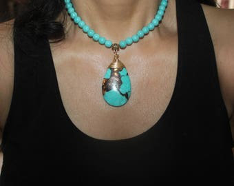 Turquoise necklace, teardrop turquoise necklace, tribal necklace, tribal jewelry, beaded turquoise necklace