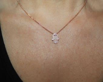 Dainty Hamsa charm necklace,small hamsa,silver hamsa,rose gold hamsa, gold hamsa necklace, hamsa charm, hamsa necklace