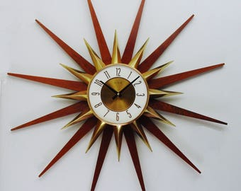 Starburst Clock 1970s by Elgin - Mid Century Modern Sunburst Hanging Wall Clock, Atomic Design. Dorm Decor. Professionally Refurbished