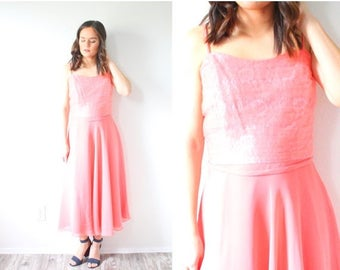 40% OFF CHRISTMAS in JULY Vintage lace pink party 1950's dress // coral pink lace top dress // bridesmaid dress // tea length dress / spaghe
