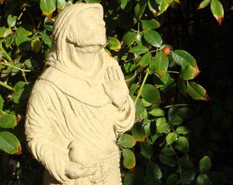 SAINT FRANCIS HOODED Solid Stone Original Outdoor Garden Statue. Spiritual Catholic Religious Figurine Sculpture Artwork for Patio Lawn Yard