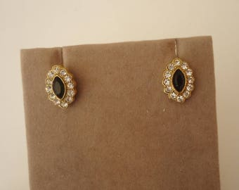 Vintage 1928 Brand Black and Clear Rhinestone Stud Earrings, Gold Tone