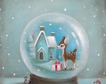 On Sale Kids Wall Art, Kids Art, Blue, Snow Globe Print, baby animal art, Kids decor by inameliart
