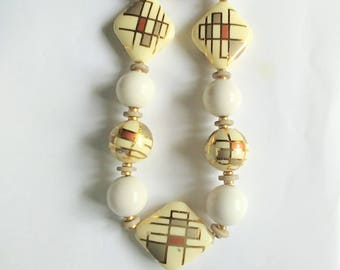 Necklace Off White Lucite Beads Art Deco Design Gold Red Gray Taupe Enamel Vintage Jewelry Jewellery Gift Guide Women