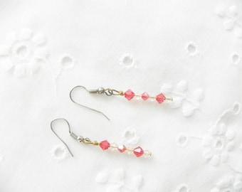 Earrings Handmade Peach Melon Pink Jewelry Jewellery Swarovski Crystals Wedding Bridesmaids Gift Guide Women Abstract Art Deco