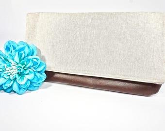 Fold Over Clutch | Beige Neutral Everyday Clutch | Wedding Clutch | Evening Clutch Purse | Leather Zipper Clutch | Bridesmaid Clutch