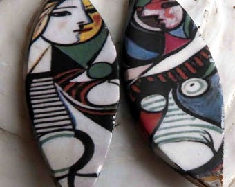 Ceramic Decal Picasso Earring Charms #2
