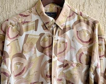 LINEN Vintage Men Shirt  Size  M-L Floral Print Summer Dress Shirt Thaiti Style Cotton Casual Wear