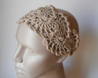 ON SALE 15 % SALE HeadBand- Crochet Headband-   Hair Fashion Accessories - Crochet HairBand in Beige