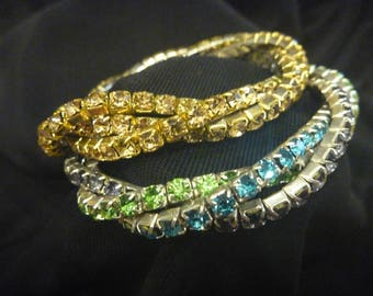 Vintage MULTI Colored RHINESTONE BRACELETS