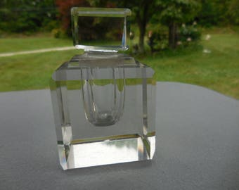 Vintage 1920s to 1940s Faceted Crystal Square Inkwell Square Ground Stopper Retro Decor Desk Accessory Heavy