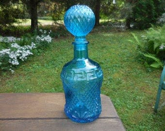 Vintage 1960s to 1970s Retro Teal/Aqua/Blue Greek Key Pattern Pressed Glass Decanter Bottle Stopper Retro Pattern Made in Taiwan Barware