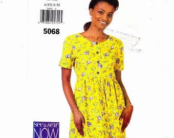 Butterick 5068 Szs XS-S-M Misses Petite Dress With Raised Waist Tie Belt In Back UNCUT