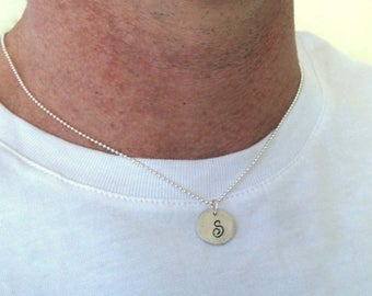 Sterling silver mens personalized initial necklace, Stamped pendant necklace for guys, Mens jewelry, Custom recycled silver pendant
