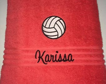 Personalized Volleyball Sports Ball Bath Towel Embroidered Monogram