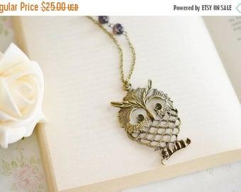 Owl Jewelry Necklace,Owl Necklace,Animal Jewelry,Owl Pendant Necklace,Purple Melon Czech Glass Jewelry,Long Necklace,Whimsical,Wisdom Anima