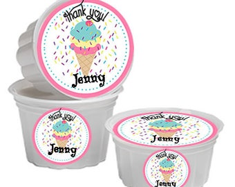 Ice Cream Cups Labels, Ice Cream Labels, Ice Cream Lid Labels, Ice Cream Party Labels, Set of 24.