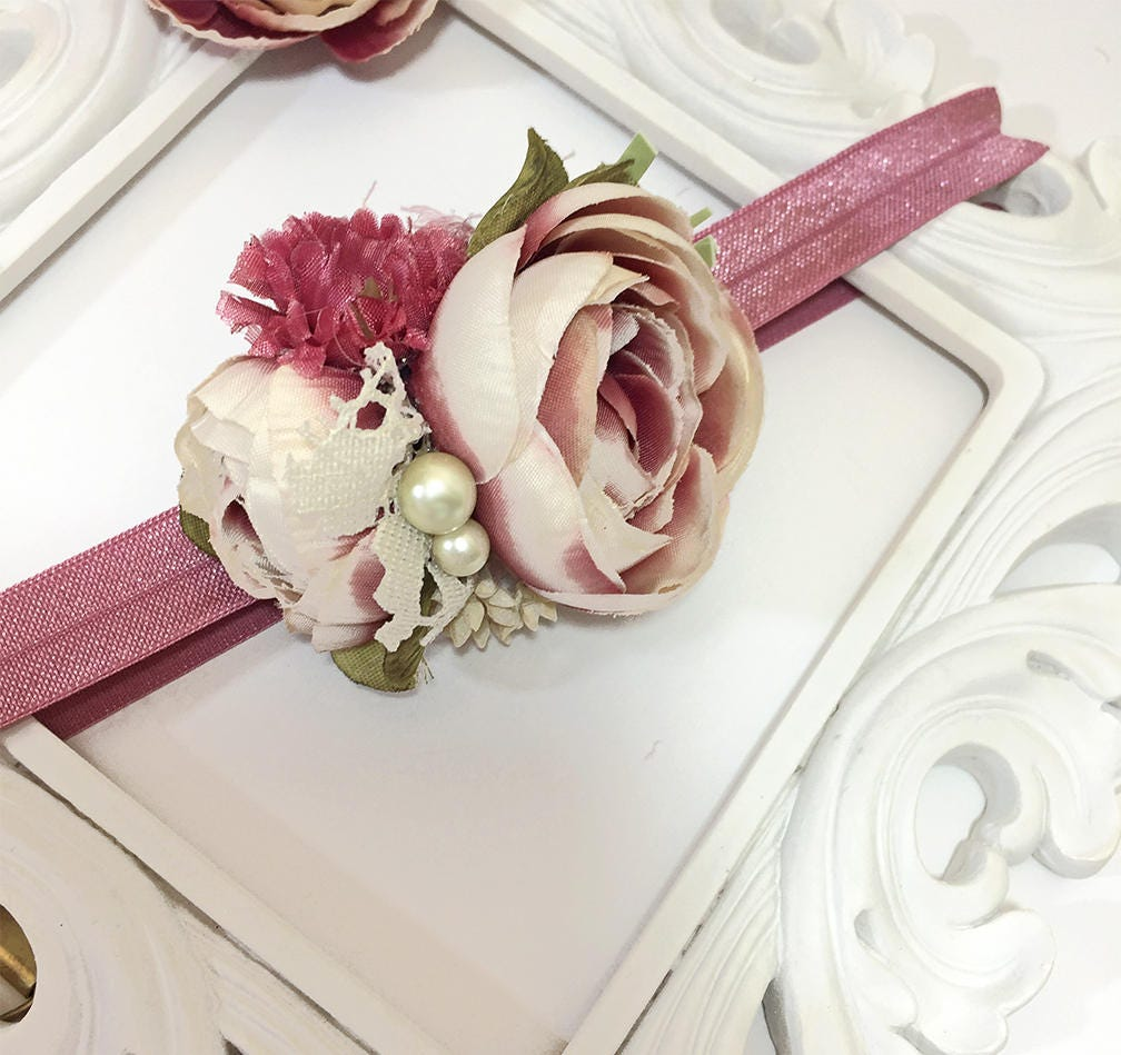 Mauve Cream Flower Headband For Baby Girl Photo Prop Silk Flowers