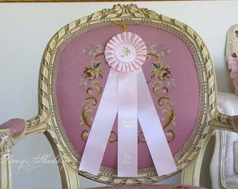 Pretty Vintage PINK HORSE Show Triple RIBBON, Awards, Trophy, Shabby Chic, Mannequin Display