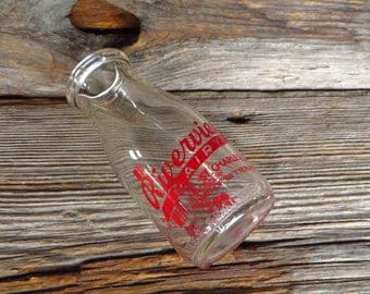 Vintage Half Pint Milk Bottle Riverview Daily St. Charles Illinois Farmhouse Kitchen Decor Rustic Home Decor