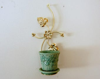 Metal Plant Hanger, Flower Pot Holder, Vintage Hanging Planter, Wire Wall Sconce, Gold Glam Decor, Flowers Leaves