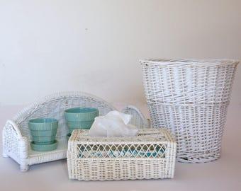Vintage Bathroom Decor, White Wicker Shelf, Tissue Box Cover, Woven Waste Basket, Beach Bedroom Set