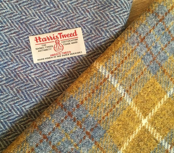 """Two pieces of Handwoven Harris Tweed fabric, plaid piece measures 12"""" x 60"""" and blue herringbone piece is 24"""" x 24"""""""