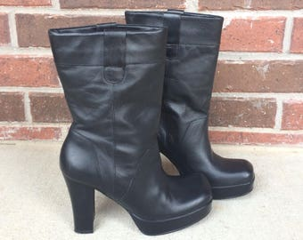 vtg 90s black  grunge PLATFORM BOOTS chunky 6 leather midi heels goth cyber club kid shoes booties
