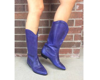 vtg 80s RICH PURPLE Cowboy BOOTS 8 rockabilly western eggplant unique avant garde leather shoes