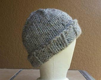 Stocking Cap, Watchcap, Longshoremans Hat, Beanie, Watch Cap Hand Knit Grey Mens