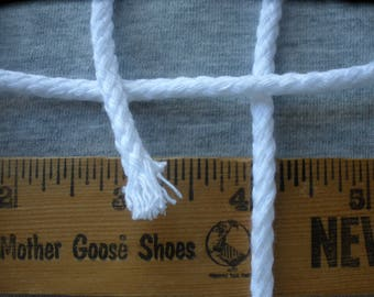 "Bright White Round Braided Cord 10 YARDS 3/16"" 4.75MM Cotton DRAWSTRING 3/16 inch no core cord"