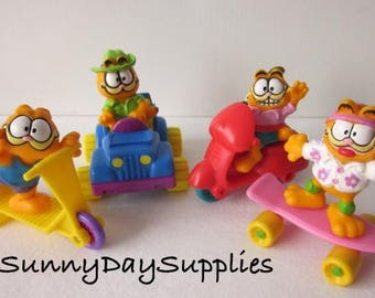 McDonalds Happy Meal Toys, Garfield on a Wheels, 1978 and 1988, Happy Meal Toys,  Never Used, SET of 4, Garfield Small Toys, Gifts for Kids