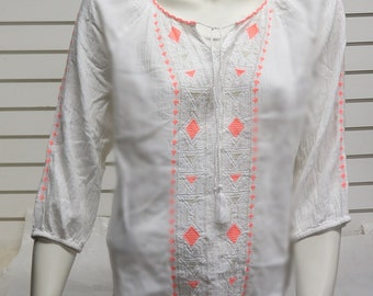 Indian cotton Embroidered Peasant Blouse  #648