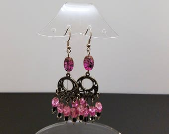 Pierced Chandelier Earrings Deep Pink and Black Swirled Glass Beads and Heart Chandelier Components