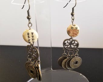 Oriental Coin Earrings Antiqued Brass