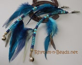 Custom FEATHERED MANE BEADS, Mane beads with bell, Rhythm Bead Necklace accessory,Native American horse, Horse Bells, Horse Mane Feathers,