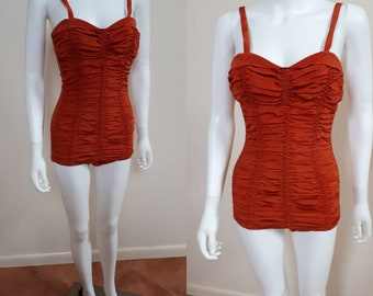 Vintage 1940s Burnt Orange 40s Swimsuit Gorgeous M