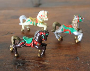 Miniature Horse Figurines, Rubber Carousel Horses, Crafting, Ornament Making