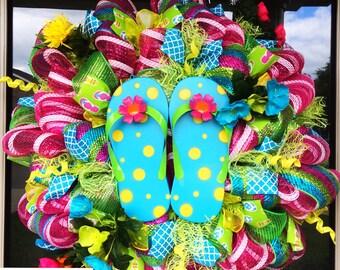 Flip Flop Wreath, deco mesh wreath, summer wreath, pool party decor, spring wreath, flip flop decor, flip flops