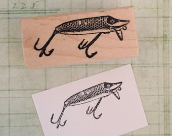 Small Fishing Lure Rubber Stamp
