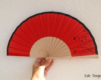 Red with Black Design Spanish Hand Fan Limited Edition by Kate Dengra Spain