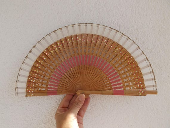 Small Wooden Fret Ribs Traditional Design Spanish Hand Fan Limited Edition