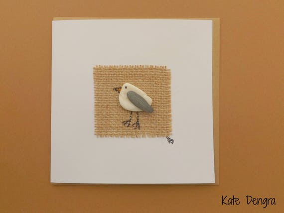 Shell Pebble Seagull Greetings Card