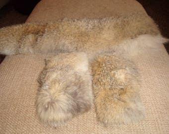 vintage genuine rabbit fur coat collar 2 cuffs